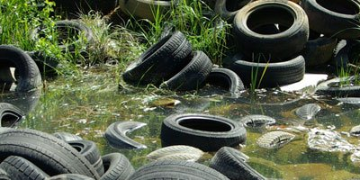 Fly-tipped car tyres