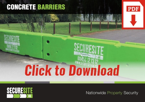 Concrete barriers call to action graphic reading 'click to download PDF'