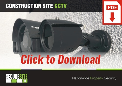 Construction site CCTV call to action graphic reading 'click to download PDF'