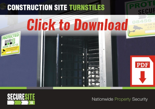 Construction site turnstiles call to action graphic reading 'click to download PDF'