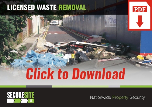 Licensed waste removal call to action graphic reading 'click to download PDF'