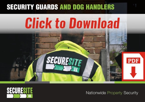 Security guards and dog handlers call to action graphic reading 'click to download PDF'