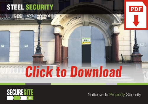 Steel security call to action graphic reading 'click to download PDF'