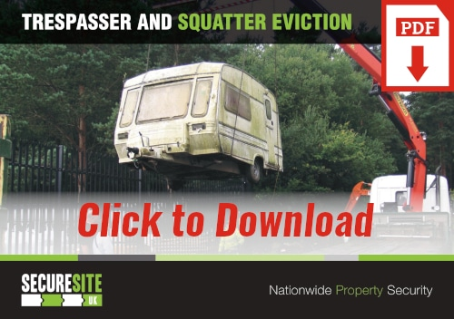 Trespasser and squatter eviction call to action graphic reading 'click to download PDF'
