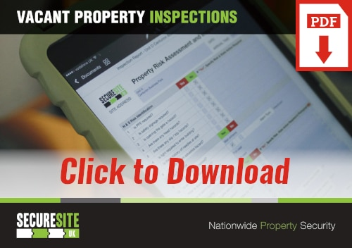 Vacant property inspections call to action graphic reading 'click to download PDF'