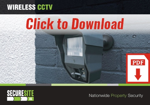 Wireless CCTV call to action graphic reading 'click to download PDF'