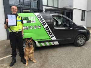 Security Dog Handler with dog and van